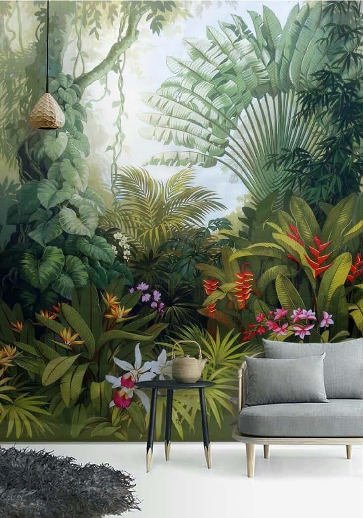 ve tranh tuong phong ngu - Vẽ tranh tường hoa lá đẹp ấn tượng