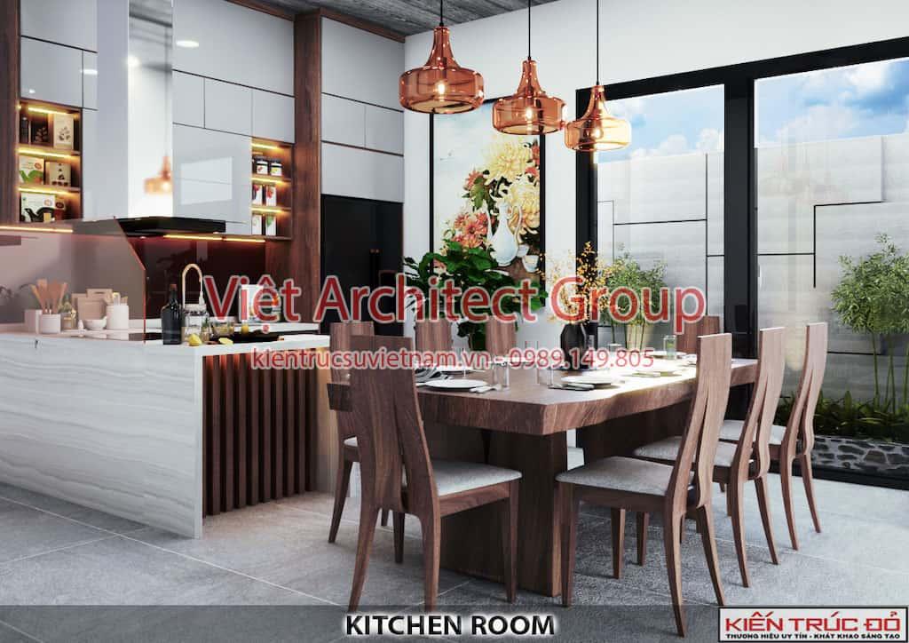 bep an 2 - Thiết kế và thi công Full nội thất biệt thự 1 tầng 3 phòng ngủ có hồ bơi ở Đà Nẵng