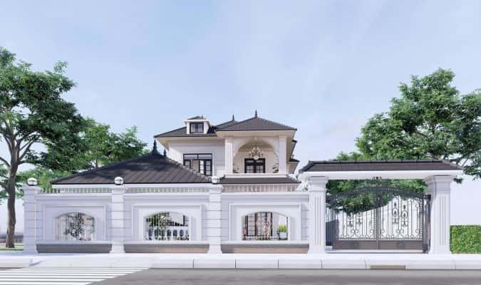 biet thu 2 tang tan co dien 1 675x400 - Chiêm ngưỡng thiết kế biệt thự tân cổ điển 2 tầng đẹp