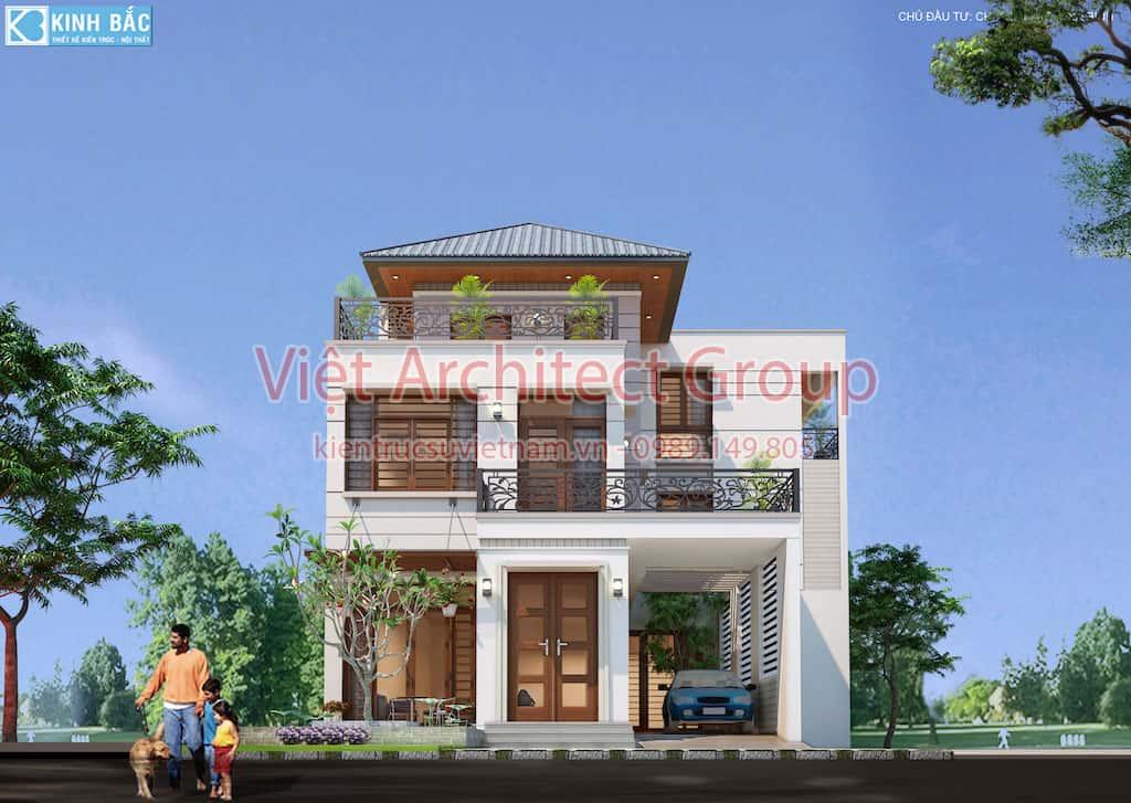 biet thu 3 tang hie dai 1 - Căn biệt thự 3 tầng hiện đại ấn tưởng ở Ninh Bình