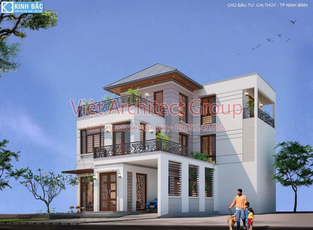 biet thu 3 tang hie dai GOC - Căn biệt thự 3 tầng hiện đại ấn tưởng ở Ninh Bình