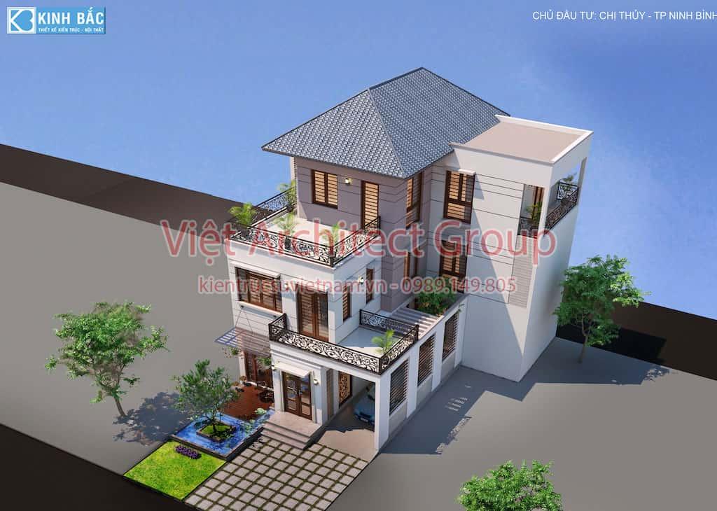 biet thu 3 tang hie dai tt - Căn biệt thự 3 tầng hiện đại ấn tưởng ở Ninh Bình