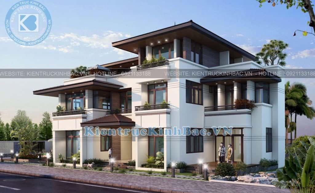 biet thu 3 tang mai thai hien dai 1 - Công trình thiết kế biệt thự 3 tầng mái thái hiện đại đẹp