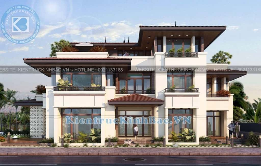 biet thu 3 tang mai thai hien dai 2 - Công trình thiết kế biệt thự 3 tầng mái thái hiện đại đẹp
