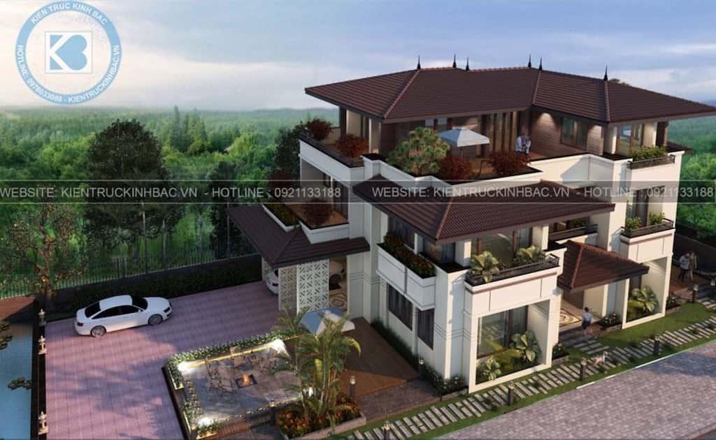 biet thu 3 tang mai thai hien dai - Công trình thiết kế biệt thự 3 tầng mái thái hiện đại đẹp