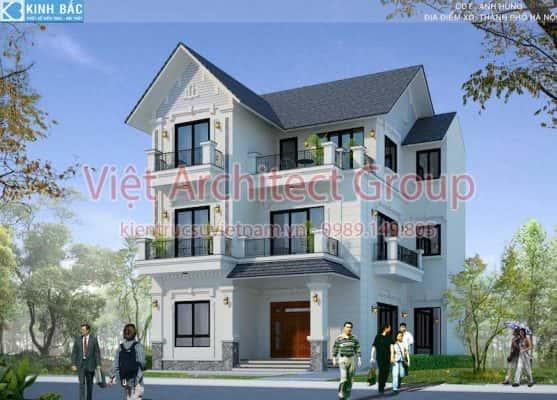biet thu 3 tang mai thai view 2 557x400 - Công trình biệt thự 3 tầng mái thái ở Hà Nội