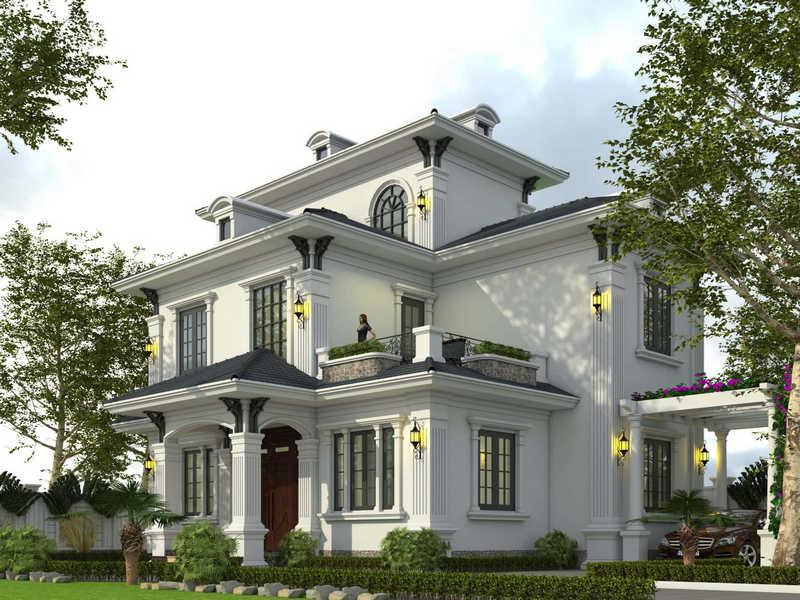 biet thu 3 tang tan co dien dep 2 - Chiêm ngưỡng mẫu thiết kế biệt thự 3 tầng mái thái tuyệt đẹp
