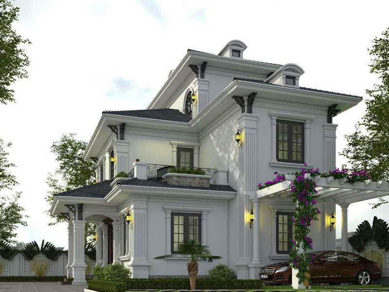 biet thu 3 tang tan co dien dep 3 - Chiêm ngưỡng mẫu thiết kế biệt thự 3 tầng mái thái tuyệt đẹp