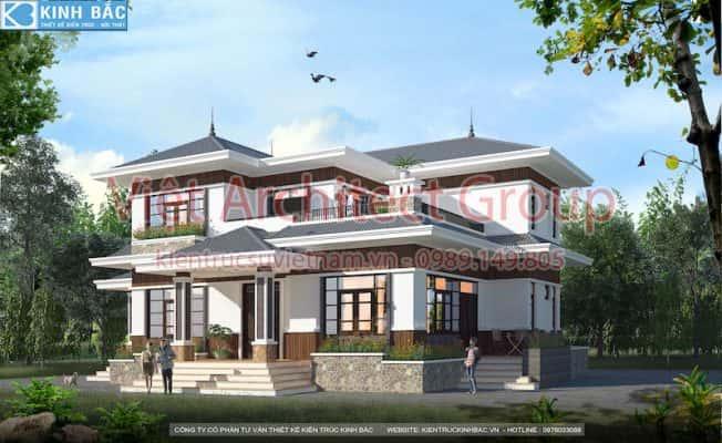 biet thu dep 2 tang mai thai 652x400 - Công trình biệt thự 2 tầng mái thái 150m2 ông Thắng ở Vĩnh Phúc