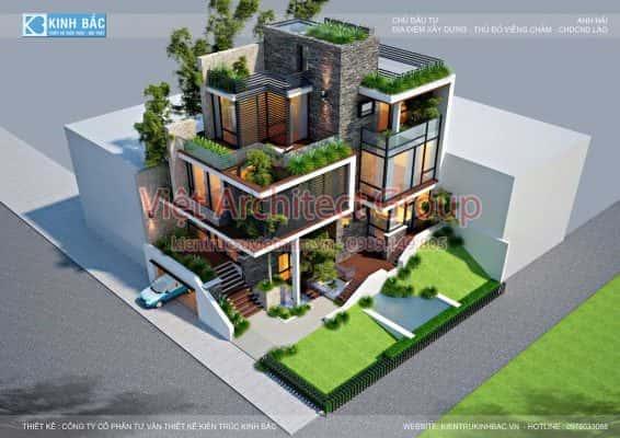 biet thu hien dai dep 3 tang G3 566x400 - Công trình biệt thự 3 tầng hiện đại góc phố nhiều cây xanh
