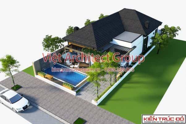 phoi canh biet thu 1 tang 1 602x400 - Công trình biệt thự 1 tầng 3 phòng ngủ có hồ bơi ở Đà Nẵng