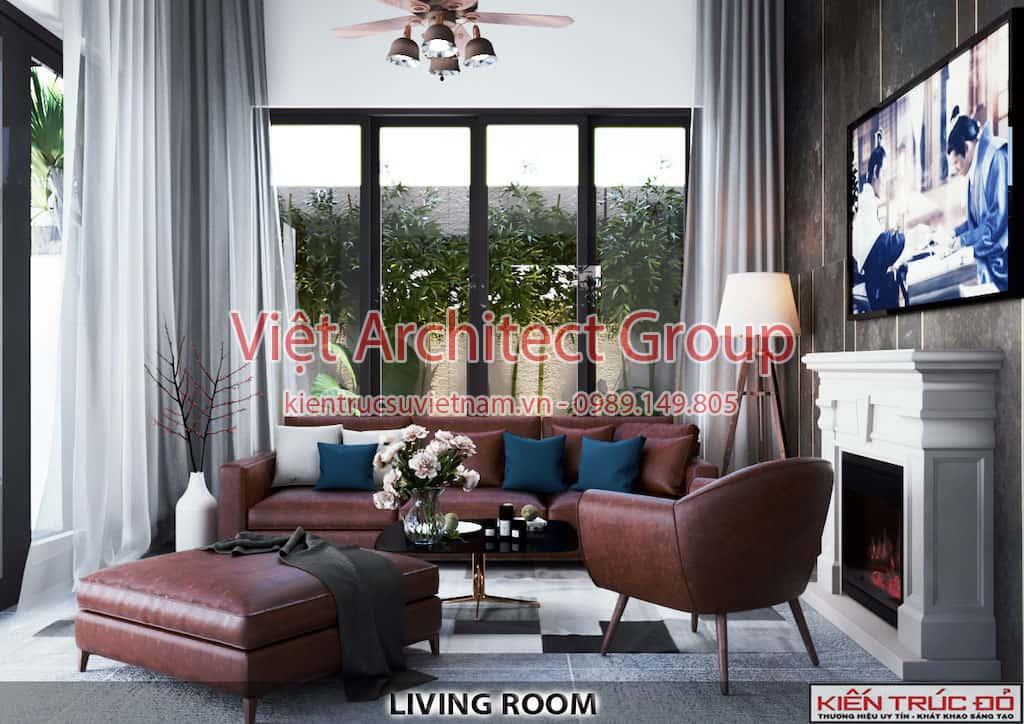 phong khach - Thiết kế và thi công Full nội thất biệt thự 1 tầng 3 phòng ngủ có hồ bơi ở Đà Nẵng