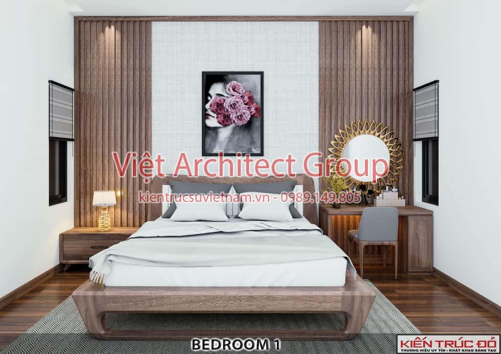 phong ngu 1 - Thiết kế và thi công Full nội thất biệt thự 1 tầng 3 phòng ngủ có hồ bơi ở Đà Nẵng