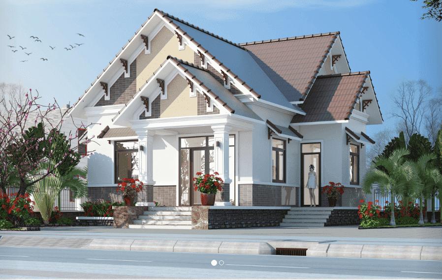thiet ke mau biet thu mini 1 tang dep - 10 Mẫu thiết kế biệt thự kiến trúc mái thái đẹp đẳng cấp