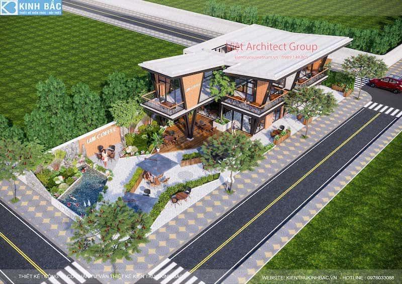 thiet ke quan cafe hung yen 1 - Thiết kế quán cafe hiện đại 2 tầng kết cấu khung thép đẳng cấp ở Hưng Yên