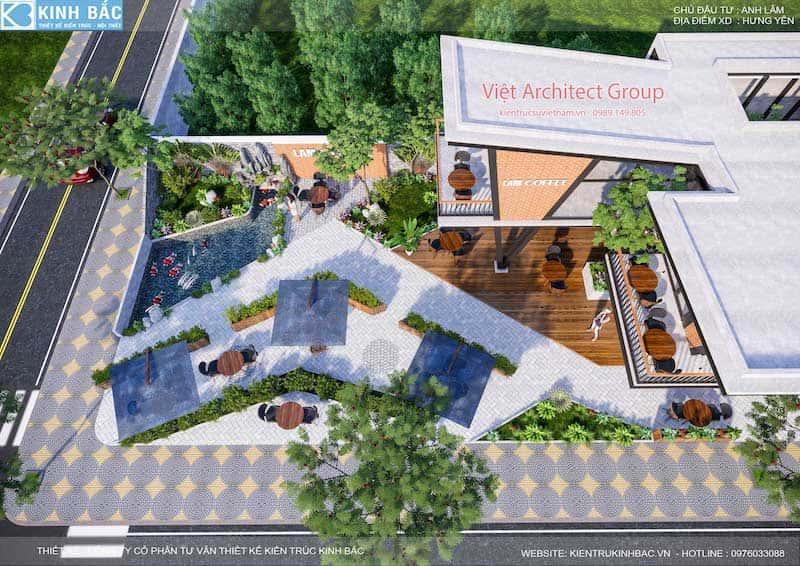 thiet ke quan cafe hung yen 10 - Thiết kế quán cafe hiện đại 2 tầng kết cấu khung thép đẳng cấp ở Hưng Yên
