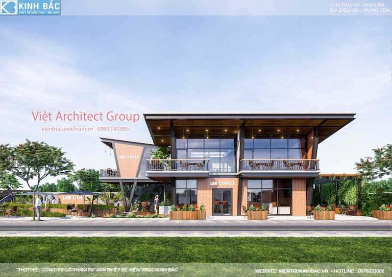 thiet ke quan cafe hung yen 11 - Thiết kế quán cafe hiện đại 2 tầng kết cấu khung thép đẳng cấp ở Hưng Yên