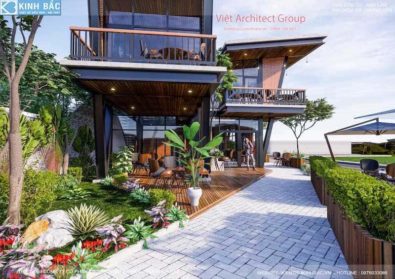 thiet ke quan cafe hung yen 12 - Thiết kế quán cafe hiện đại 2 tầng kết cấu khung thép đẳng cấp ở Hưng Yên