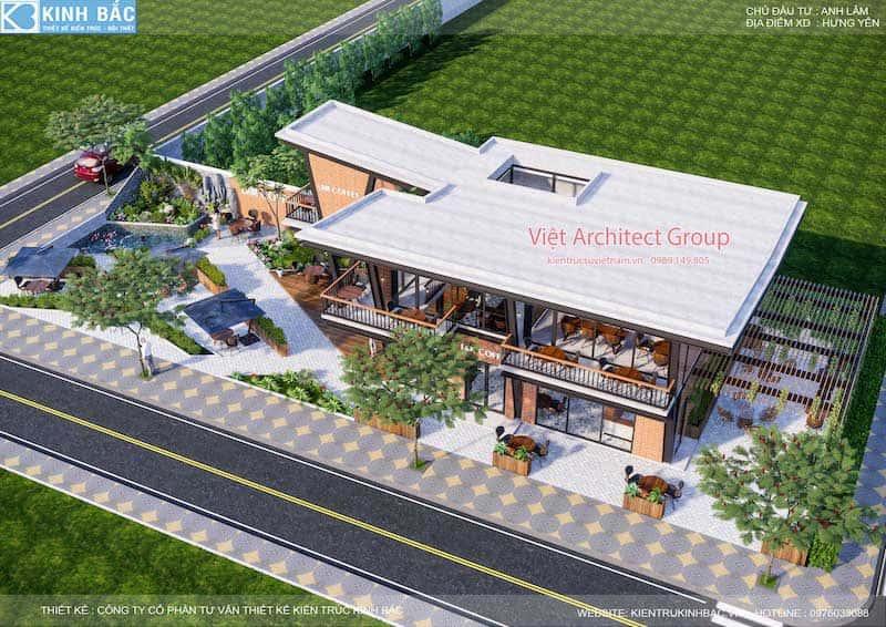 thiet ke quan cafe hung yen 2 - Thiết kế quán cafe hiện đại 2 tầng kết cấu khung thép đẳng cấp ở Hưng Yên