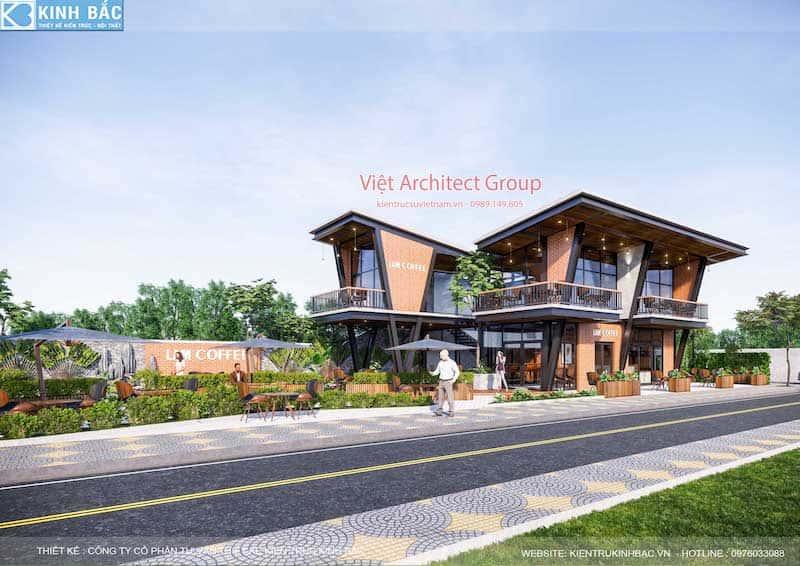 thiet ke quan cafe hung yen 3 - Thiết kế quán cafe hiện đại 2 tầng kết cấu khung thép đẳng cấp ở Hưng Yên