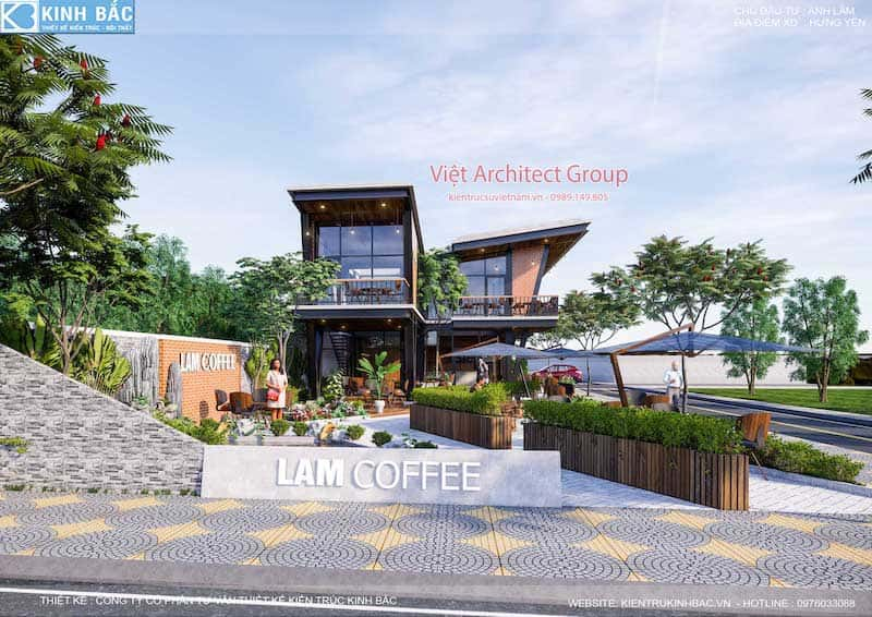 thiet ke quan cafe hung yen 4 - Thiết kế quán cafe hiện đại 2 tầng kết cấu khung thép đẳng cấp ở Hưng Yên