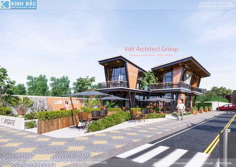 thiet ke quan cafe hung yen 5 - Thiết kế quán cafe hiện đại 2 tầng kết cấu khung thép đẳng cấp ở Hưng Yên