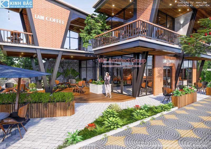 thiet ke quan cafe hung yen 6 - Thiết kế quán cafe hiện đại 2 tầng kết cấu khung thép đẳng cấp ở Hưng Yên
