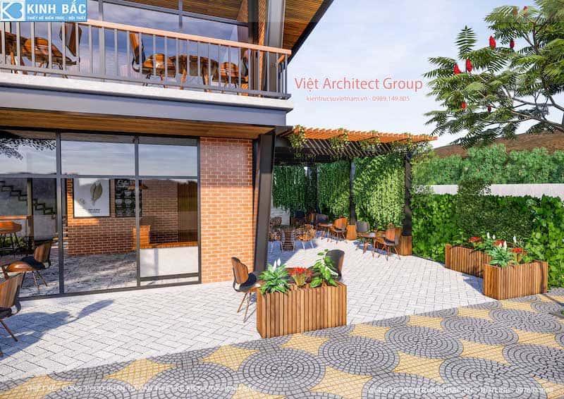 thiet ke quan cafe hung yen 7 - Thiết kế quán cafe hiện đại 2 tầng kết cấu khung thép đẳng cấp ở Hưng Yên
