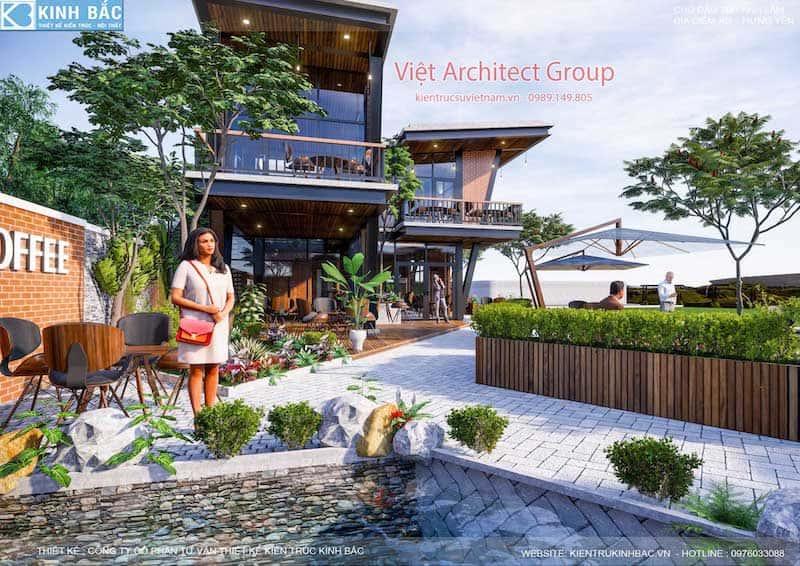 thiet ke quan cafe hung yen 8 - Thiết kế quán cafe hiện đại 2 tầng kết cấu khung thép đẳng cấp ở Hưng Yên