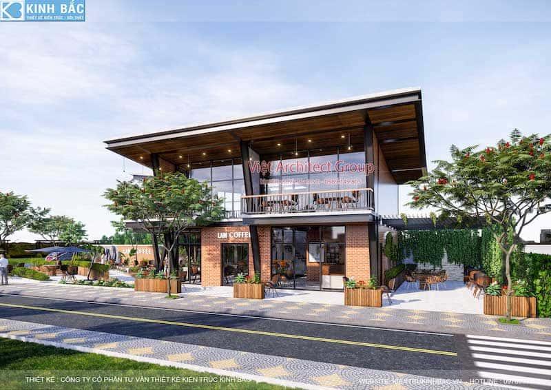 thiet ke quan cafe hung yen - Thiết kế quán cafe hiện đại 2 tầng kết cấu khung thép đẳng cấp ở Hưng Yên