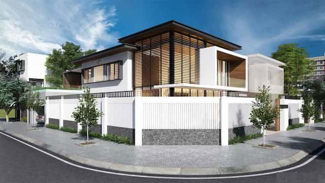 Ngam nhin mau nha biet thu 2 tang dep hut mat nguoi xem 2 - Thiết kế biệt thự 2 tầng hiện đại lô góc phố có gara ô tô