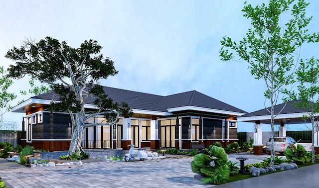 Nhà sân vườn c.Thu góc 1 - Thiết kế biệt thự vườn 1 tầng 3 phòng ngủ đơn giản hiện đại