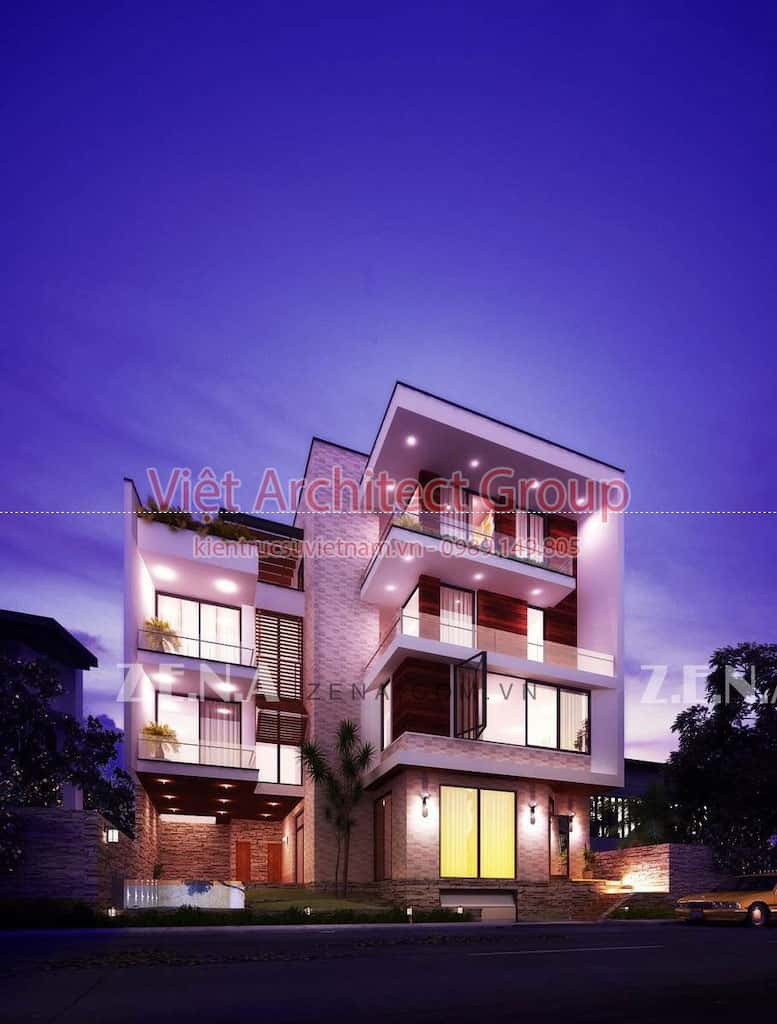 PI HOUSE - Công trình biệt thự phố hiện đại 4 tầng đẹp