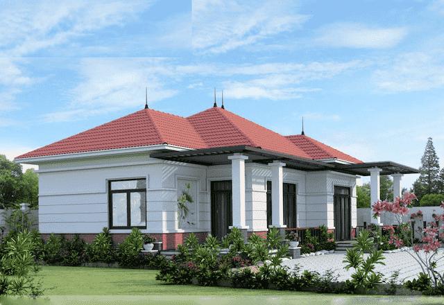 biet thu 1 tang 3 phong ngu 3 - 10 Mẫu thiết kế biệt thự kiến trúc mái thái đẹp đẳng cấp