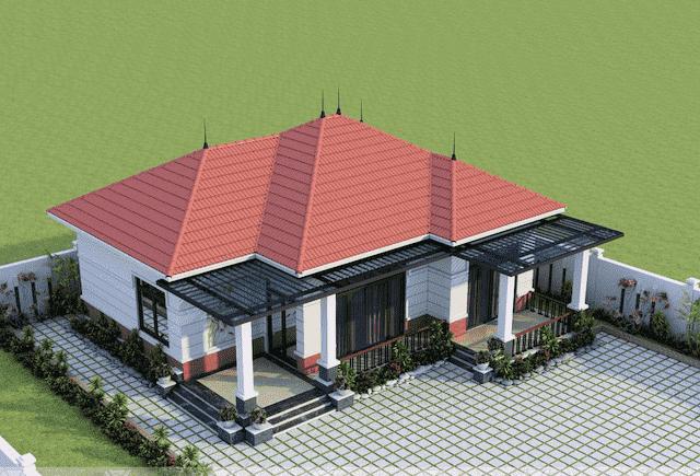 biet thu 1 tang 3 phong ngu 4 - Thiết kế Biệt thự mái thái 1 tầng 3 phòng ngủ đẹp
