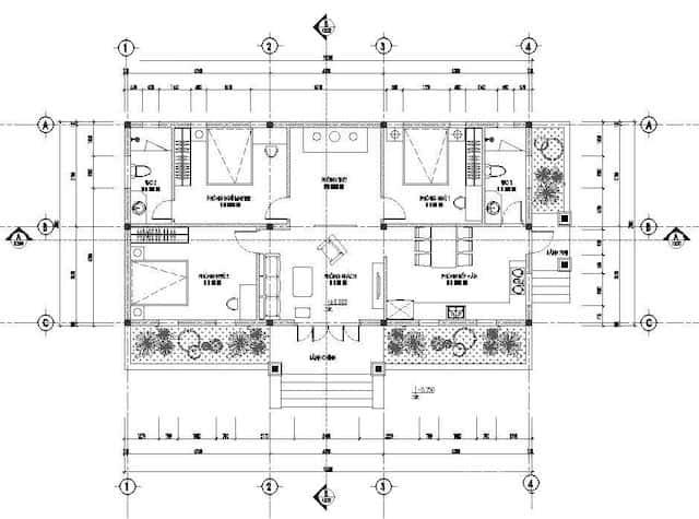biet thu 1 tang 3 phong ngu 5 - Thiết kế Biệt thự mái thái 1 tầng 3 phòng ngủ đẹp