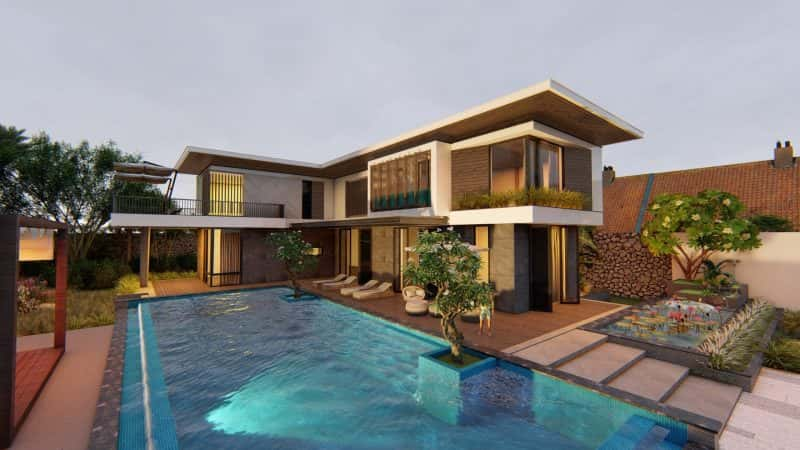 biet thu 2 tang co ho boi hien dai 2 e1570092517680 - Tổng hợp mẫu biệt thự 2 tầng mái bằng đẹp nhất hiện nay