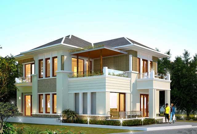 biet thu 2 tang mai thai hien dai dep 1 - Thiết kế biệt thự 2 tầng hiện đại kiến trúc mái thái diện tích 120m2 đẹp