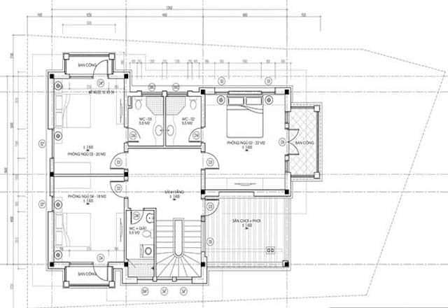biet thu 2 tang mai thai hien dai dep 4 - Thiết kế biệt thự 2 tầng hiện đại kiến trúc mái thái diện tích 120m2 đẹp