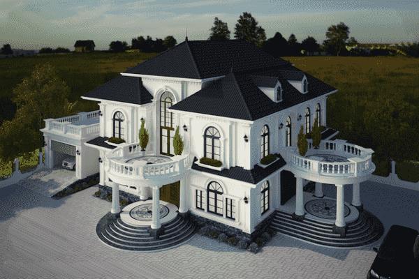 biet thu 2 tang mat tien 18m 1 600x400 - Thiết kế biệt thự tân cổ điển 2 tầng sang trọng đẳng cấp