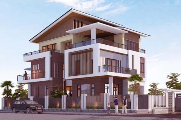 biet thu 3 mat tien 3 600x400 - Thiết kế biệt thự 3 mặt tiền với kiến trúc hiện đại diện tích 300m2
