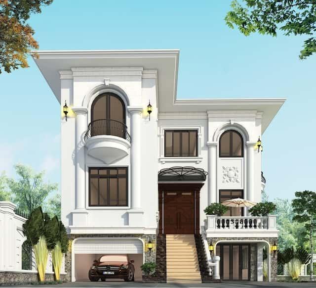 biet thu 3 tang 9x12 tan co dien 1 - Thiết kế biệt thự 3 tầng tân cổ điển sang trọng diện tích  9x12m