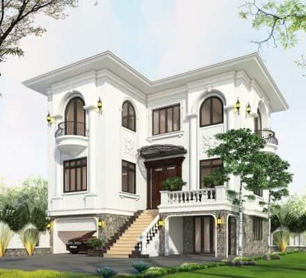 biet thu 3 tang 9x12 tan co dien 2 440x400 - Thiết kế biệt thự 3 tầng tân cổ điển sang trọng diện tích  9x12m