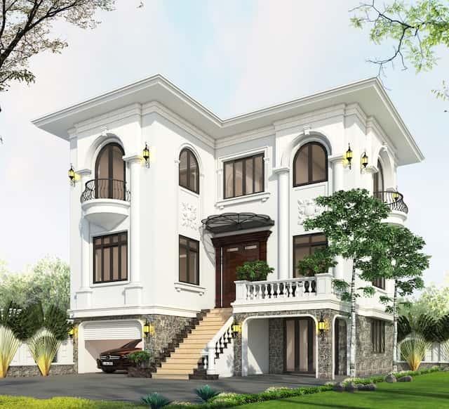 biet thu 3 tang 9x12 tan co dien 2 - Thiết kế biệt thự 3 tầng tân cổ điển sang trọng diện tích  9x12m