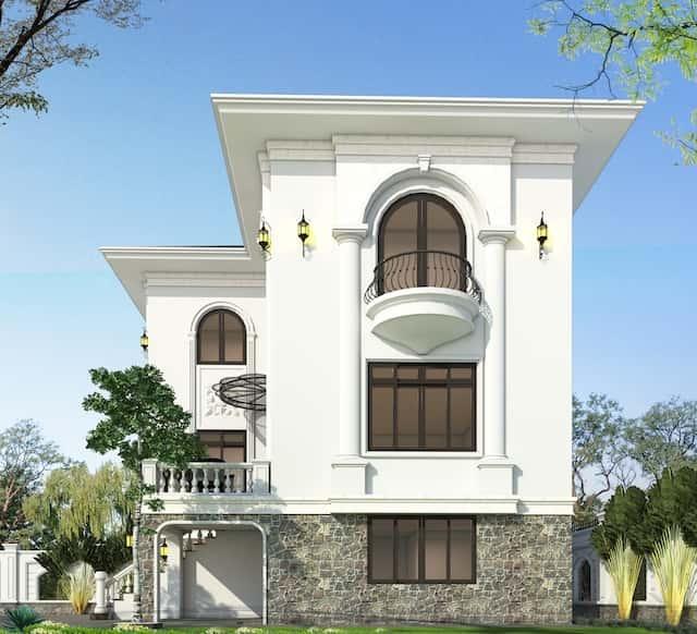 biet thu 3 tang 9x12 tan co dien 3 - Thiết kế biệt thự 3 tầng tân cổ điển sang trọng diện tích  9x12m