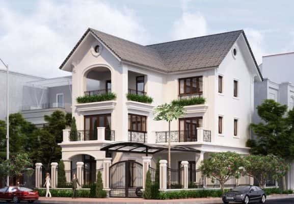 biet thu 3 tang chu l tan co dien dep 1 577x400 - Thiết kế biệt thự tân cổ điển 3 tầng chữ L đẹp