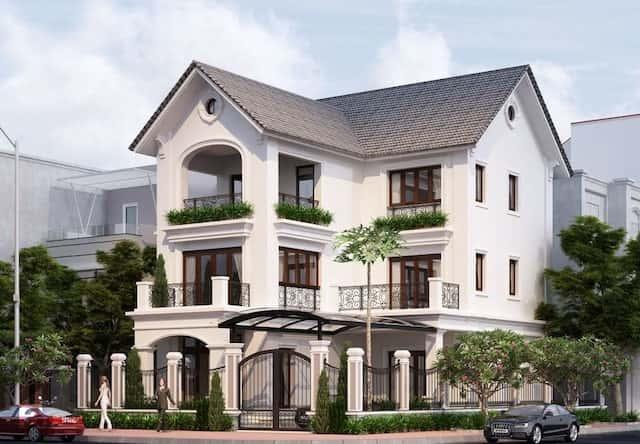 biet thu 3 tang chu l tan co dien dep 1 - Thiết kế biệt thự tân cổ điển 3 tầng chữ L đẹp