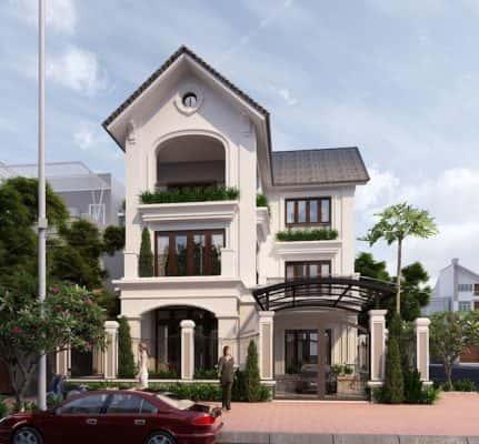 biet thu 3 tang chu l tan co dien dep 4 431x400 - 10 Mẫu thiết kế biệt thự kiến trúc mái thái đẹp đẳng cấp