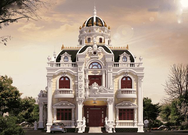 biet thu 3 tang co dien 13x18 1 - Thiết kế biệt thự cổ điển 3 tầng mặt tiền 13m đẳng cấp
