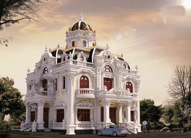 biet thu 3 tang co dien 13x18 2 - Thiết kế biệt thự cổ điển 3 tầng mặt tiền 13m đẳng cấp